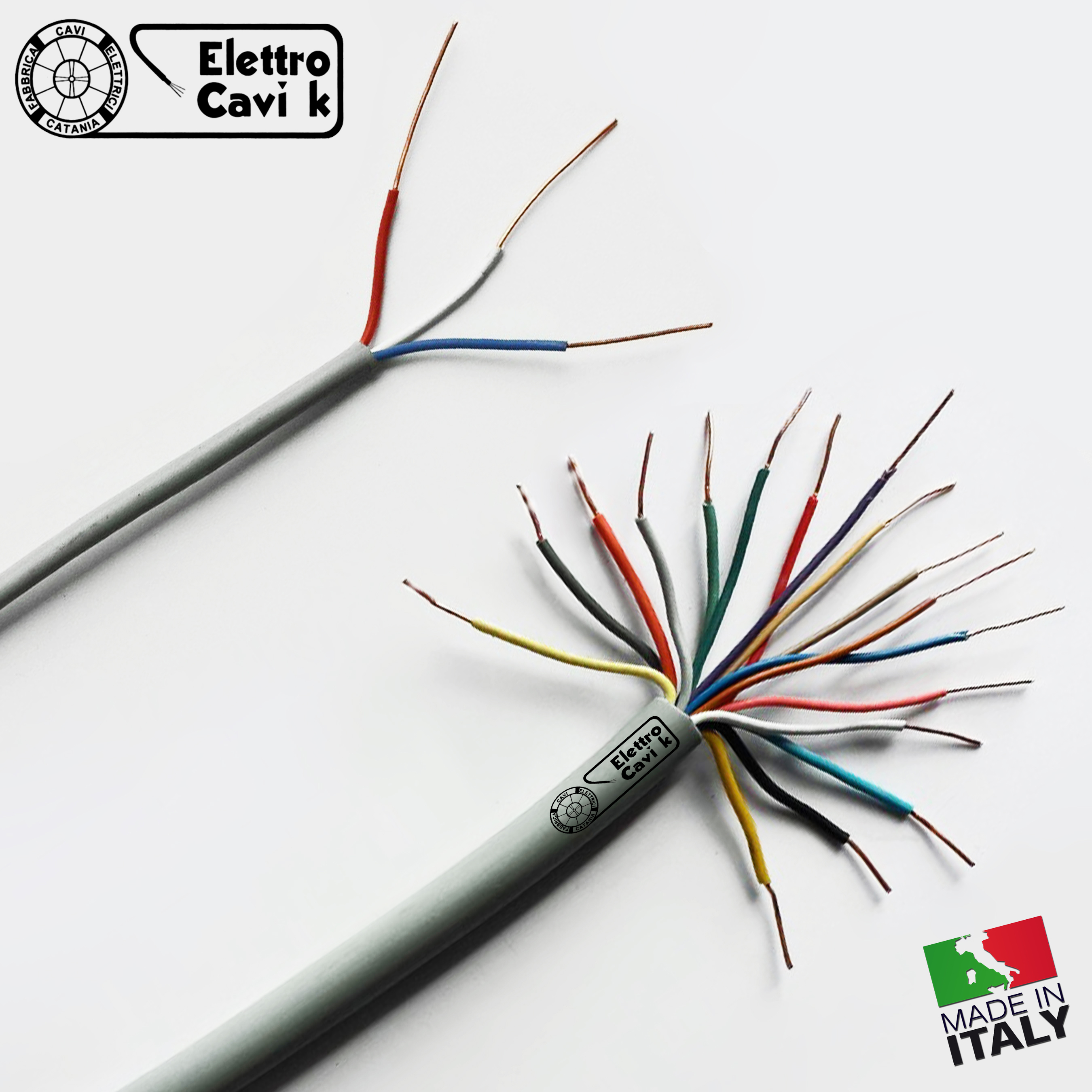 CAVO DOPPINO TELEFONICO TELECOM 2x0,30 MM/² RIGIDO IN RAME PROFESSIONALE BIPOLARE 2 POLI ROSSO BIANCO 100 METRI