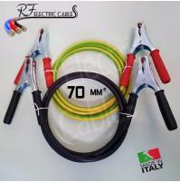 CAVI BATTERIA AUTO CAMPER TIR TRATTORI 70 mm² 400 A IN RAME PROFESSIONALI 5 MT