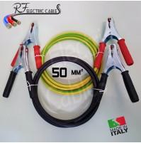 CAVI BATTERIA AUTO MOTO CAMPER TIR 50 mm² 400 A IN RAME PROFESSIONALI 3 METRI