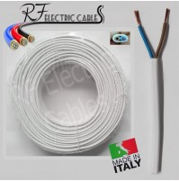 CAVO PIATTO GOMMATO BIANCO 2x1 mm² BIPOLARE 2 POLI ELETTRODOMESTICO 100 METRI