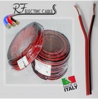PIATTINA ROSSONERO ROSSONERA AUDIO CASSE HI FI IN RAME 2x0.50 mm² 100 MT BIPOLAR