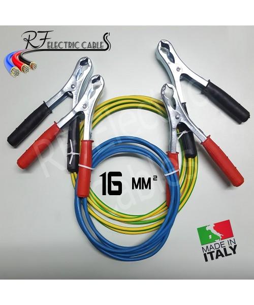 CAVI PER COLLEGAMENTO BATTERIA IN RAME PROFESSIONALI 16 mm² 3 METRI 120 A SCOOTER MOTO