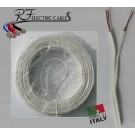 PIATTINA COSTA STRETTA BIANCA IN RAME 2x0,50 mm² LAMPADARI BAJOUR 100 METRI