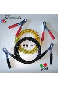 CAVI PER COLLEGAMENTO BATTERIA IN RAME PROFESSIONALI 25 mm² 3 METRI 120 A SCOOTER MOTO AUTO